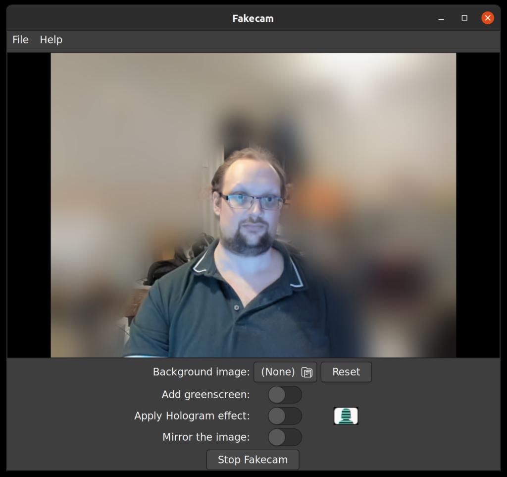 Screenshot of my Fakecam User Interface